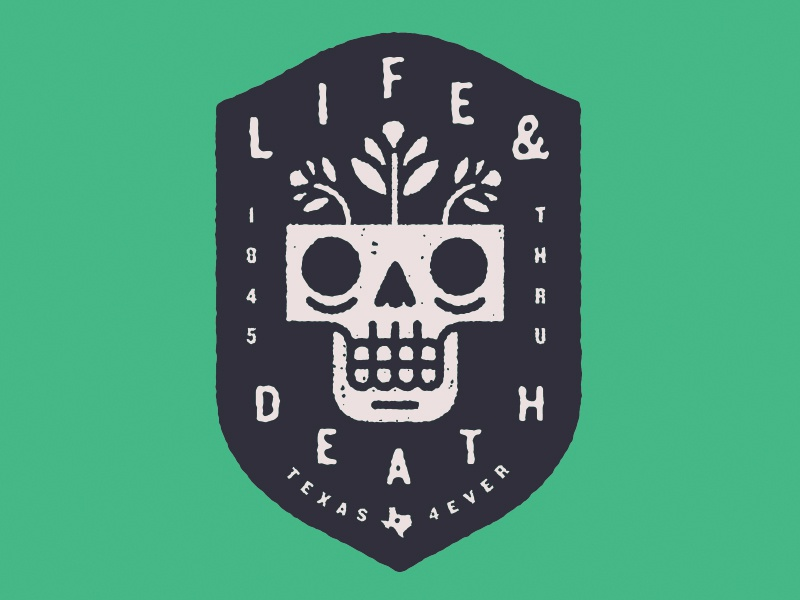 Life & Death badge shield flowers skull typography type illustration