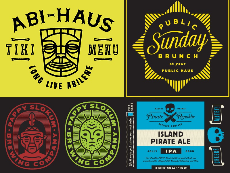 Recent Stuff abi-haus tiki badge can can design brunch beer