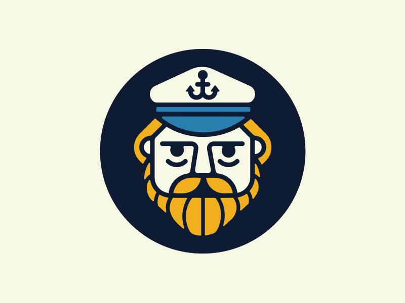 Captain circle logo icon mustache beard anchor captain