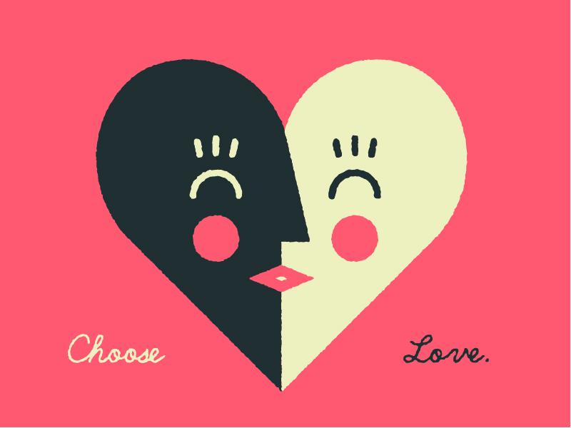 Choose Love. face white black love kiss heart