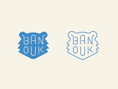 Banouk cute fun kids outline lettering custom type animal bear icon logo