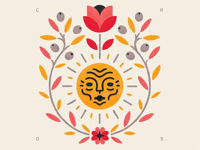 What I Love love face sun emblem leaves leaf olive rose flower illustration