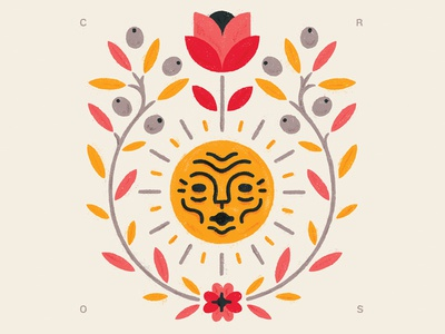 What I Love love face sun emblem leaves leaf olive rose flower illustration