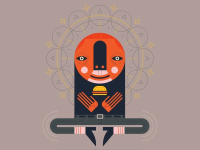 Holy drawing float floating hands socks pattern ornate eyes illustration face burger holy