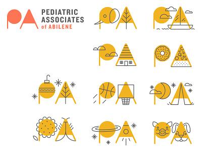 Pediatrics of Abilene boat elephant moon sun ornament basketball logotype system illustration logo branding
