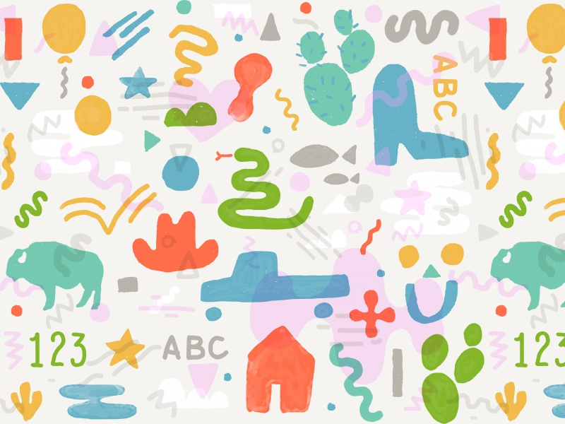 Pediatrics Of Abilene Pattern playful fun numbers letters buffalo snake abc boot pattern children kids