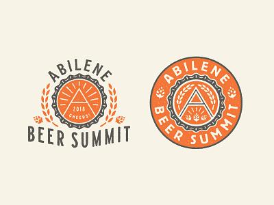 Abilene Beer Summit seal texas shine mountain summit hops barley grain a beer cap cap beer