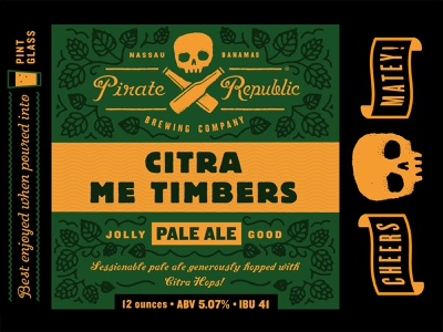 Citra Me Timbers label script typography type pale ale hops skull pint bottle beer brewery pirate