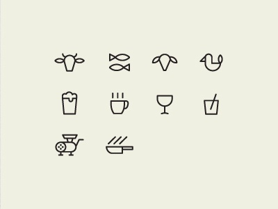 Restaurant Icons restaurant icons beef cow fish lamb chicken beer coffee wine coctail knife