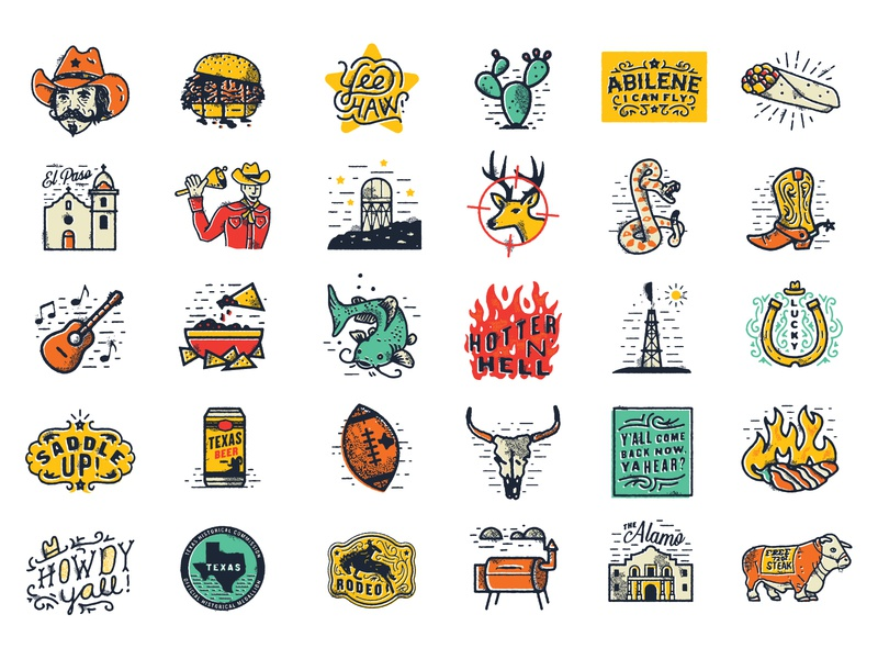 Texmessages chips catfish popper cow horse lettering beer stickers country boot cowboy texas illustrations icons