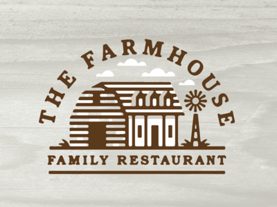 The Farmhouse branding design logo feerer typography illustration home southern cabin type restaurant country clouds arc serif windmill farmhouse house farm