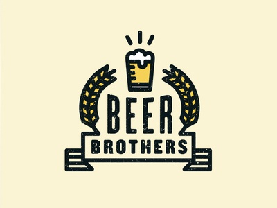 Beer Brothers beer brothers beer brothers wheat banner flag seal type typography