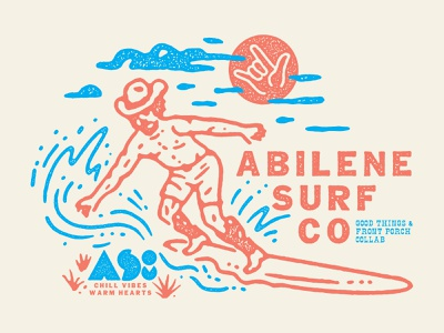 Abilene Surf Co lettering illustration type texture vintage boots cowboy hat cowboy sun surf board water surf