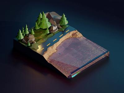 Secret File Ninety Four polygonrunway lowpoly layout 3d digital illustration water liquid simulation modeling blender3d blender