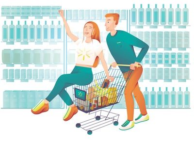 Vector illustration for book cover about Walmart
