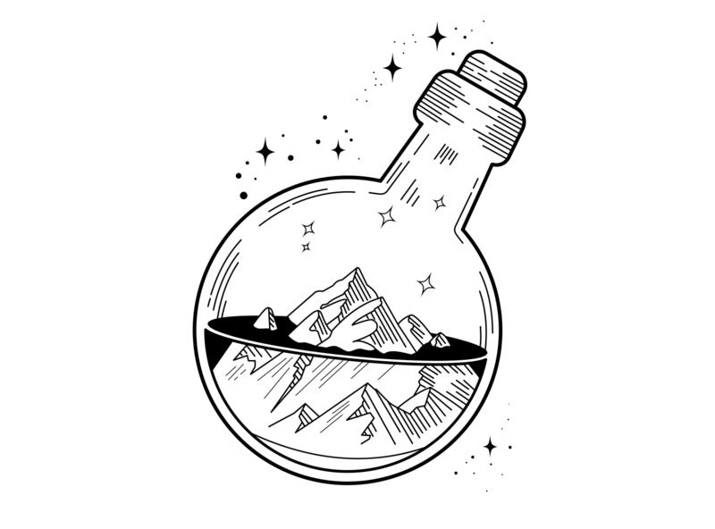 Bottle in the world design illustration