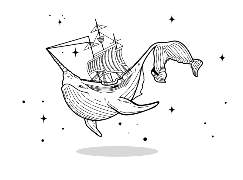 Whale in the night sky design illustration