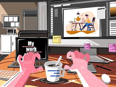 My work station design illustration