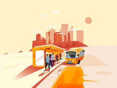Late bus design illustration