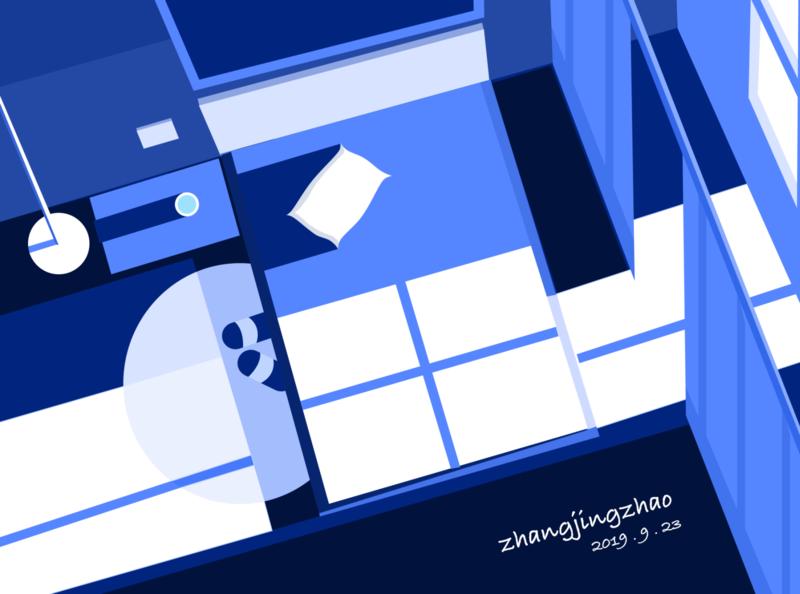 Night bedroom design illustration