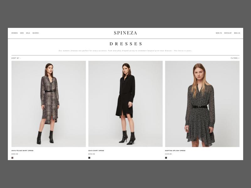 SPINEZA shop branding fashion typography design webdesign website interface web design concept web ux ui