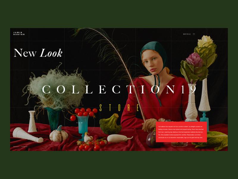 Jamie Hunter photography photo grid blog shop branding fashion typography design webdesign website interface web design concept web ux ui