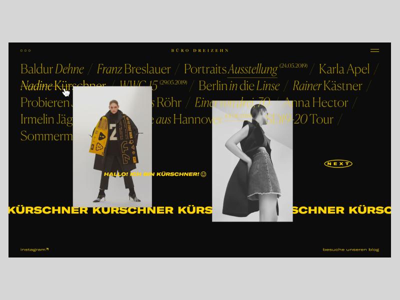 BÜRO DREIZEHN photography photo grid blog branding fashion typography design webdesign website interface web design concept web ux ui