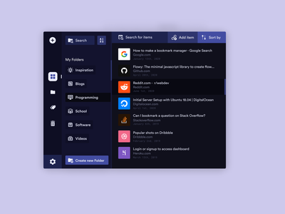 Bookmark Managment App extensions browser flat ui colorful app debut dashboard concept calm purple extension links vault encrypted manager bookmark