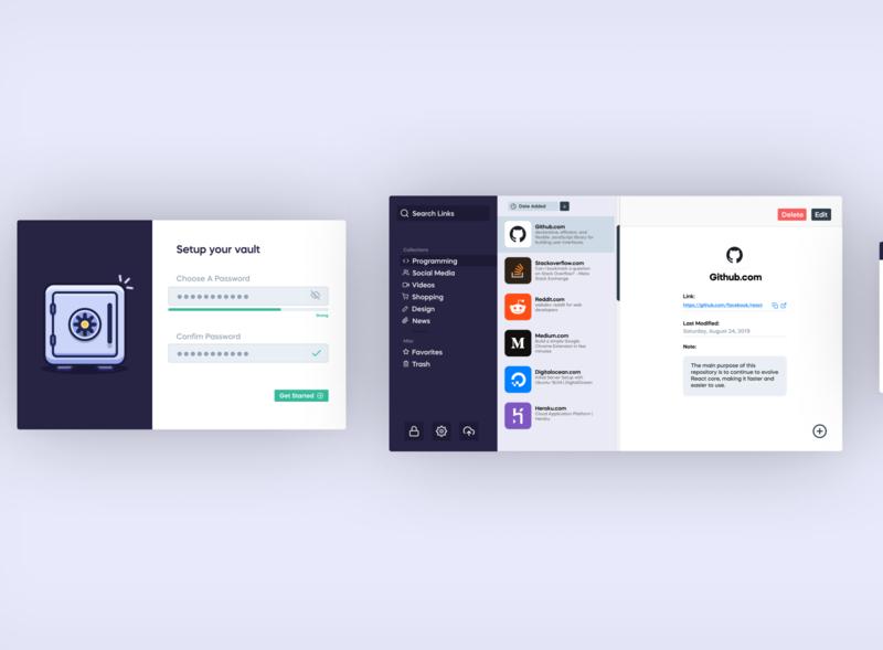 Bookmark Management App password ui  ux colors link secure vault flat minimal purple ui app dashboard manager bookmark