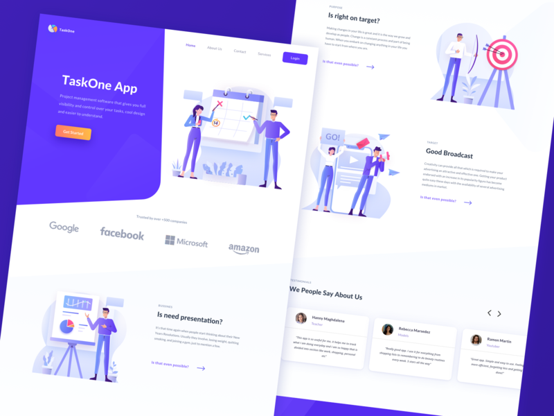 TaskOne Management App vector task manager app illustration kit task management task website ui design illustration hero landing
