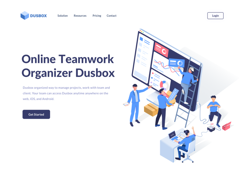 Dusbox Teamwork isometric remotework organize landing page development dashboard management team teamwork vector website ui hero landing illustration