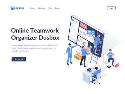 Dusbox Teamwork isometric remotework organize landing page development dashboard management team teamwork vector website ui hero landing illustration