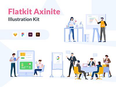 Illustration Kit Axenite mobile app kit flatdesign design web hero website mobile vector ui app character illustration kit illustration