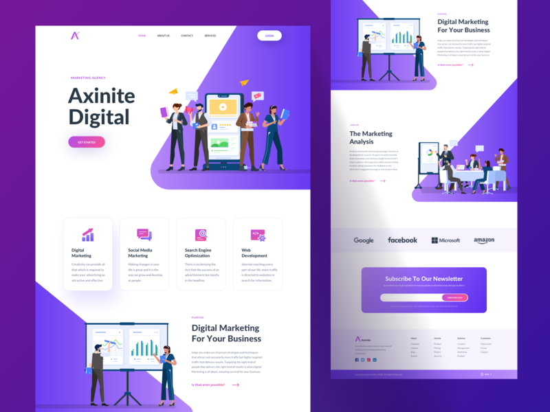 Axinite Digital illustration kit character app ui illustration vector design web design web website landing page landing hero