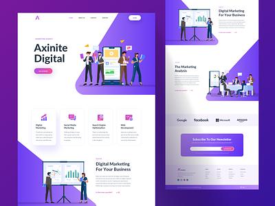 Axinite Digital illustration kit character app ui illustration vector design web design web website landing page landing hero