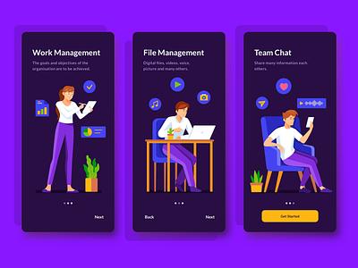 Onboarding Management App mobile app management task management app character vector onboarding mobile ui mobile ui illustration