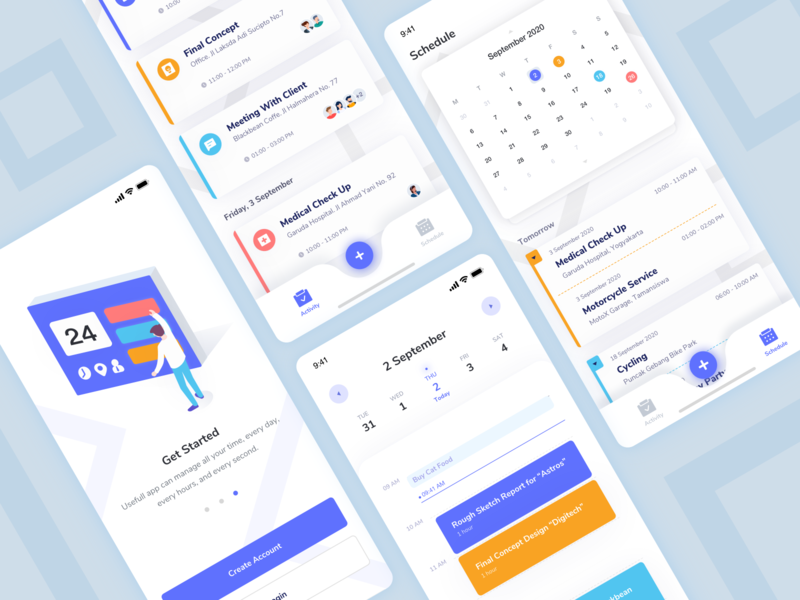 Harian Scheduler design callendar vector minimal illustration icon management app uidesign mobile ui schedule aplication app mobile ui