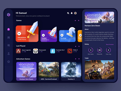 Star Game Dashboard hero transition animation design app icon vector website illustration ui landing game dashboad
