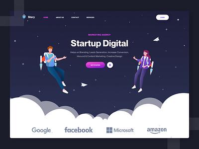 Startup Digital character marketing agency startup jetpack landing page website design hero landing ui illustration animation