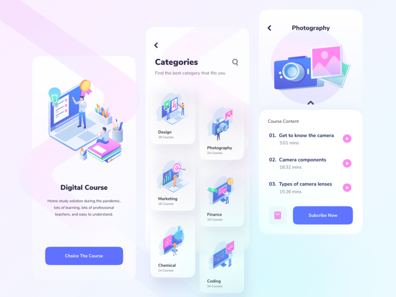 Digital Course elearning education study student school learn clean online learning online course design isometric vector illustration ui course mobile