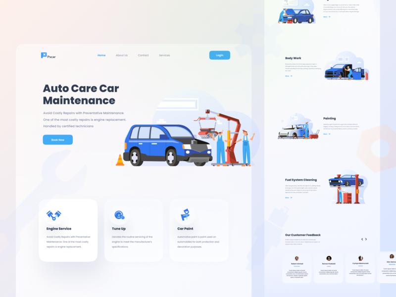 Auto Care Car Maintenance repair automotive car landing page landing character illustration kit website flat web icon vector hero ui illustration design