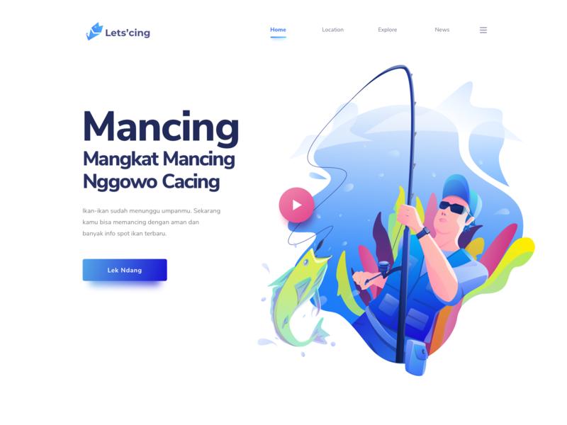 Lets Mancing river ocean outdoor adventure fish icon landing fisherman travel website illustration sport hobbies hero fishing