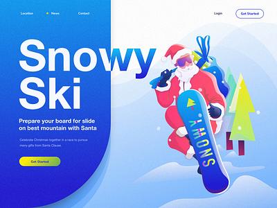 Snowy Ski mountain holiday gift website travel landing illustration hobbies snow hero sport santa christmas ski snowboard adventure
