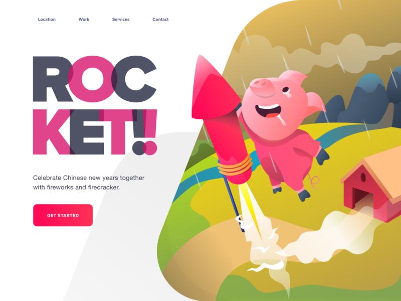 Rocket Pig website crypto character ui gift holiday adventure illustration hero landing pig chinese new year