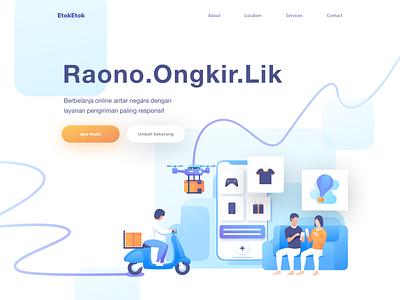 Raono Ongkir ui landing motor deliver app header design icon hero illustration delivery