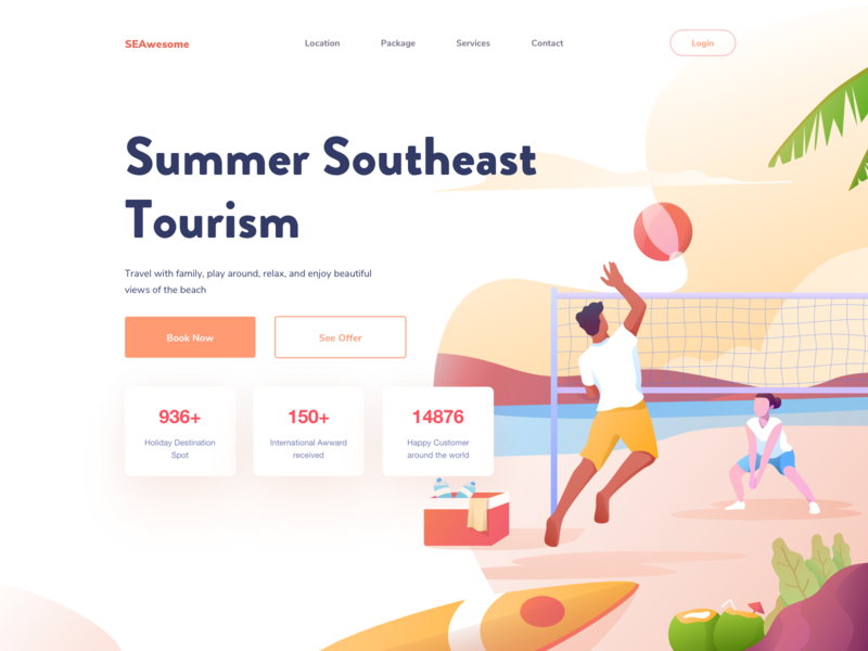 Summer Southeast Tourism vacation summer ui beach tourism travel holiday volley sport hobbies website adventure landing hero illustration