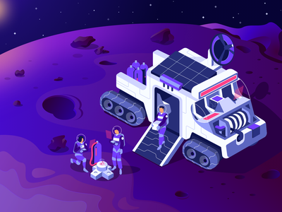 Space Resource crypto web galaxy landing car vehicle spaceship mining astronaut space adventure hero illustration