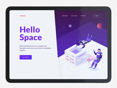 Landing Page Animation Using Rezza Isometric Pack workspace kit spaceship ux vector website illustration ui crypto isometric hero space animation