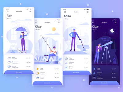 Weather Mobile App design flat illustration character design character weather icon weather forecast forecast weather app weather mobile hero adventure ui icon illustration mobile ui mobile app