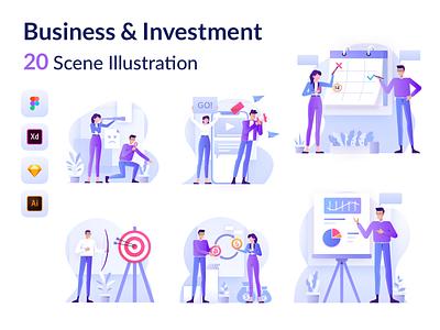 Bussines & Investment Illustration mobile app app vector flatdesign investment bussines finance mobile kit design website ui illustration